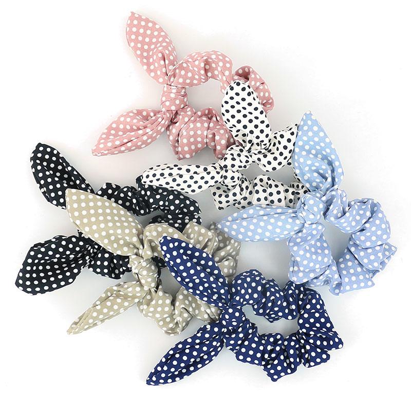 Free Shipping Fashion Women Rabbit Ear Dot Hair Bands Bunny Hair Scrunchies Girl's Hair Tie  Accessories Ponytail Holder 2018