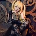 Death Note Misa Amane Cosplay peluca larga recta de luz dorado partido pelucas de Halloween navidad