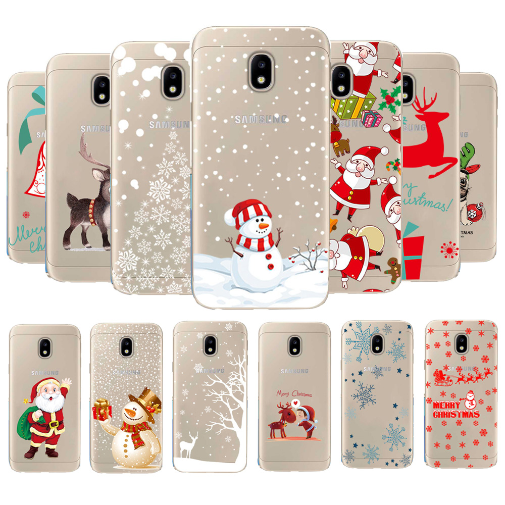 Christmas Reindeer Santa Claus Clear Soft TPU Case Cover For Samsung J3 J7 J5 2017 J4 J6 J8 2018 Silicone TPU Coque For Samsung image