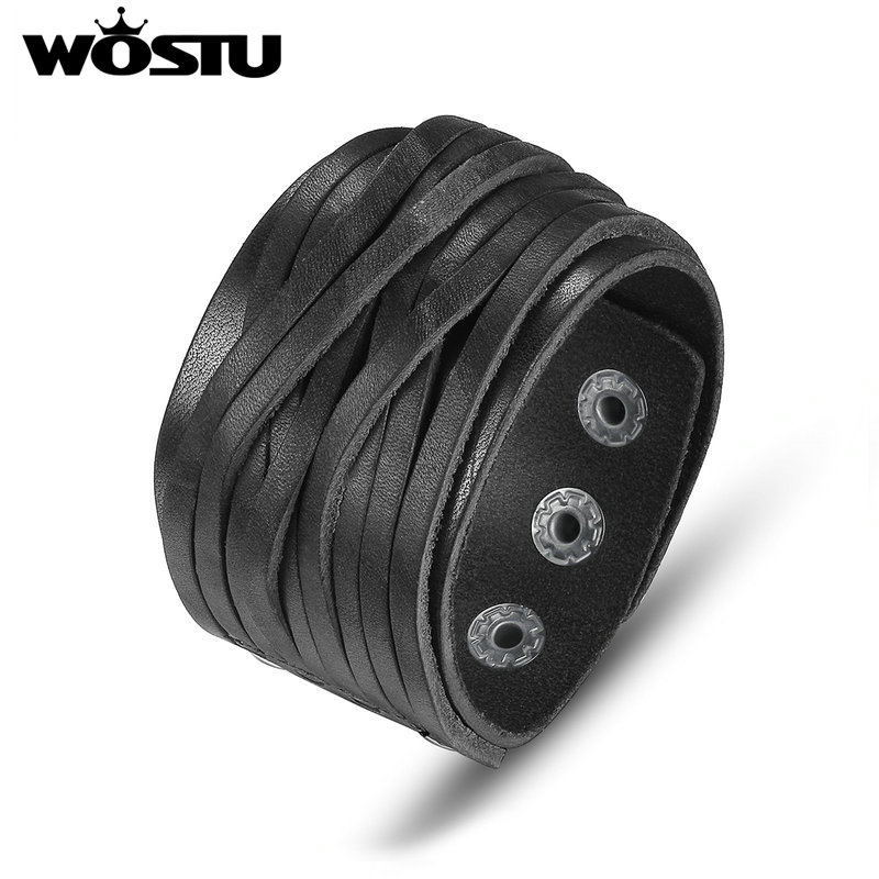 WOSTU Hot Sale Genuine Leather Wrap Vintage Black Bracelet & Bangles For Men Women Luxury High Quality Jewelry Unisex XCJ0337