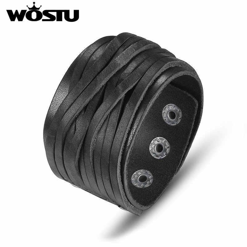 WOSTU gorąca sprzedaż prawdziwej skóry Wrap Vintage czarna bransoletka i bransoletki dla kobiet mężczyzn luksusowe wysokiej jakości biżuteria Unisex XCJ0337