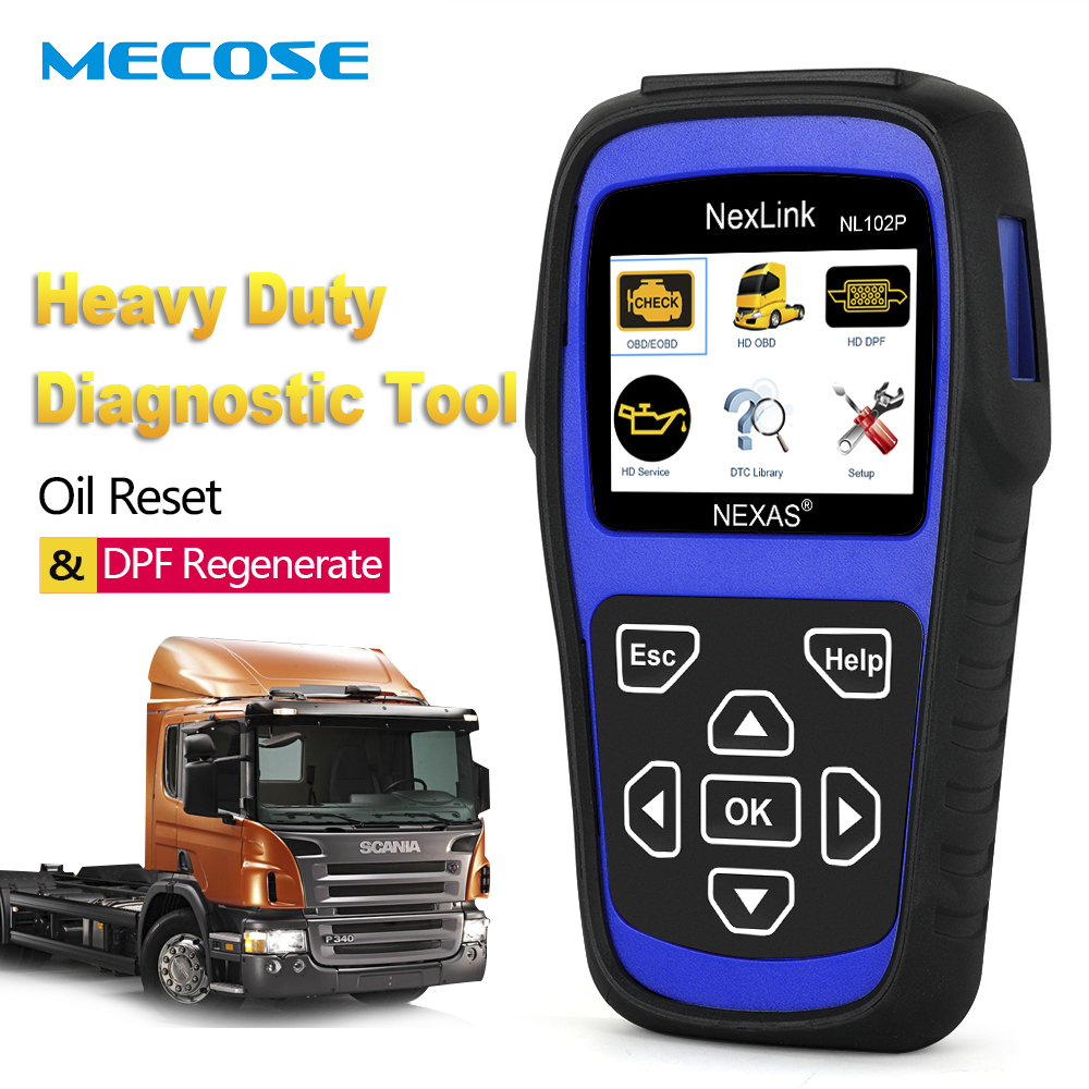 2019 Car Truck Auto Diagnostic Tool 2 in 1 Nexas NL102P HD Heavy Duty Engine Oil Light Service DPF Reset Automotive Scanner ODB2
