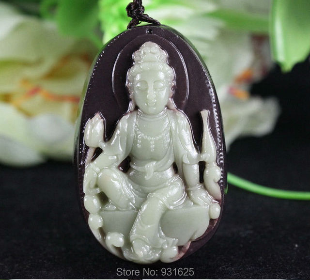 Natural Purple Jade Carved Kwan-Yin Lucky Hand Pendants 25mm Thick Chinese ZiPao Yu Jade Pendant Fine Jade Jewelry free rope