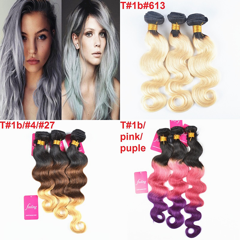 7a Blonde Ombre Brazilian Hair Purple Pink Ombre Hair Extensions