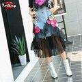 2017 women summer denim mesh patchwork skirts flower sequins high waist sexy jeans skirt