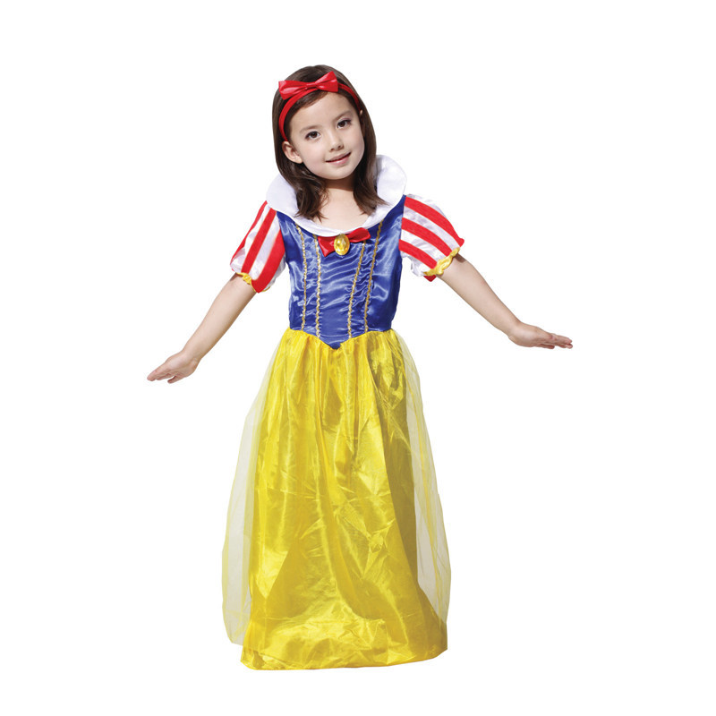Yellow Long Dresses For Girls Sassy Prestige Snow White Fairy Story Princess Fancy Dress Child Cosplay Party Halloween Costume