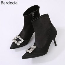 Berdecia Black Sock boots Thin High Heels Elasticity Ankle Boots Rhinstone Buckle Decor Ladies Shoes Fashion Pump Boots Women