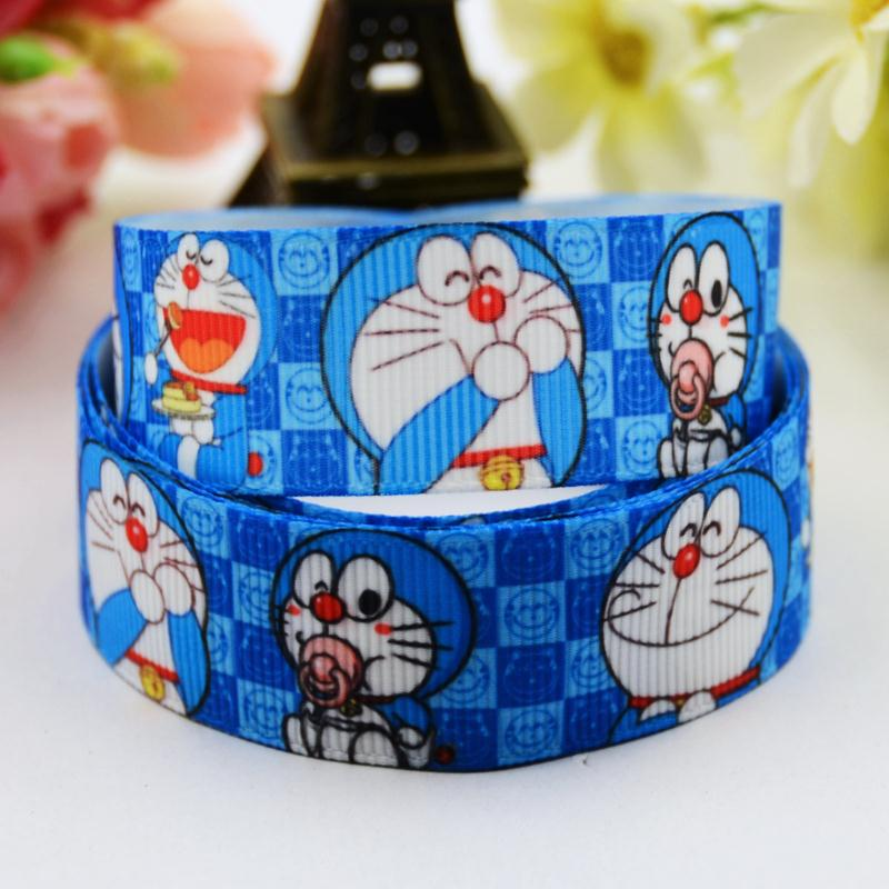 7/8 (22mm) Doraemon Cartoon Character printed Grosgrain Ribbon party decoration satin ribbons OEM X-00590 10 Yards