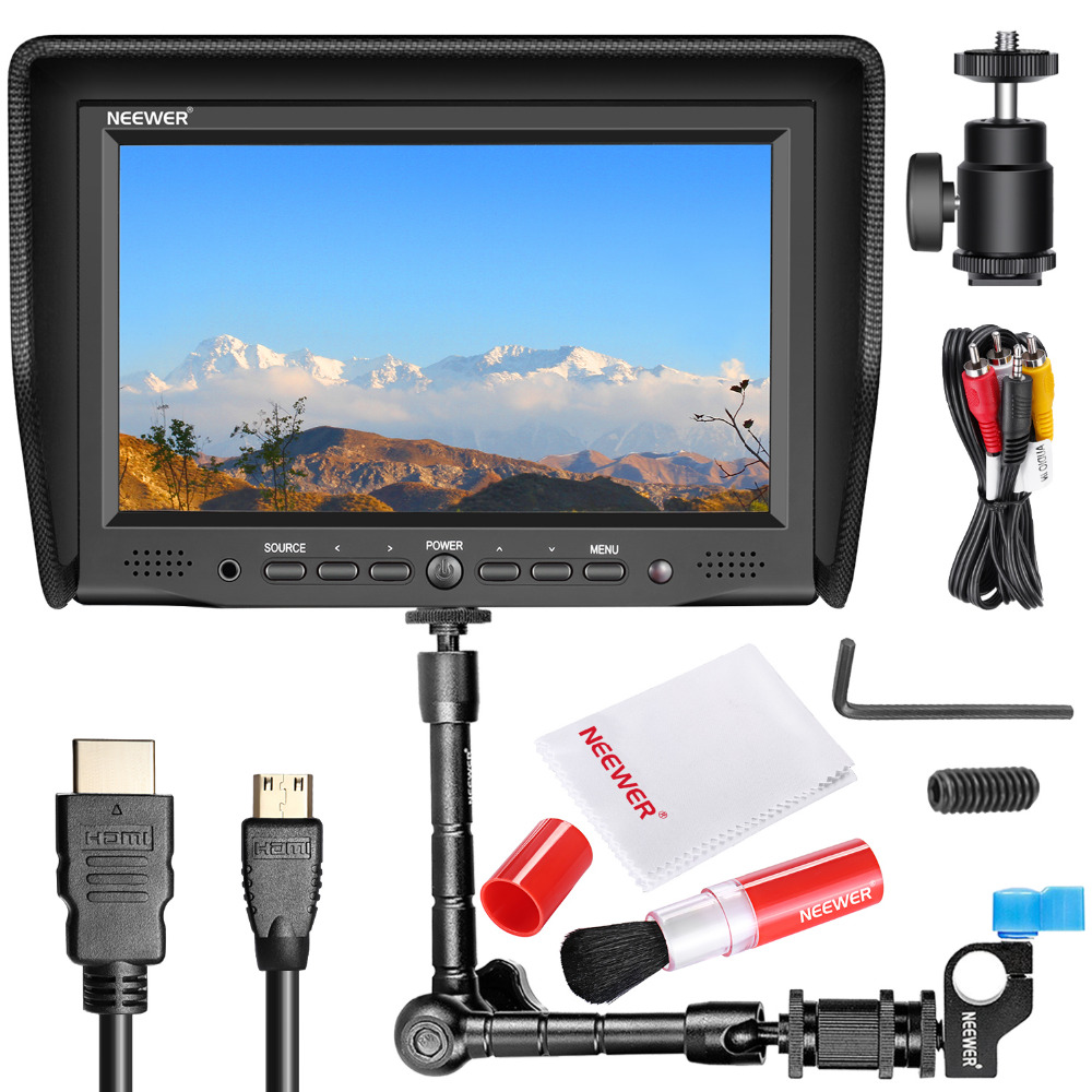 Neewer NW-708M 7 inches On-Camera Field Monitor Kit:800x480 High Resolution IPS Screen Monitor Magic Arm with Rod Clamp