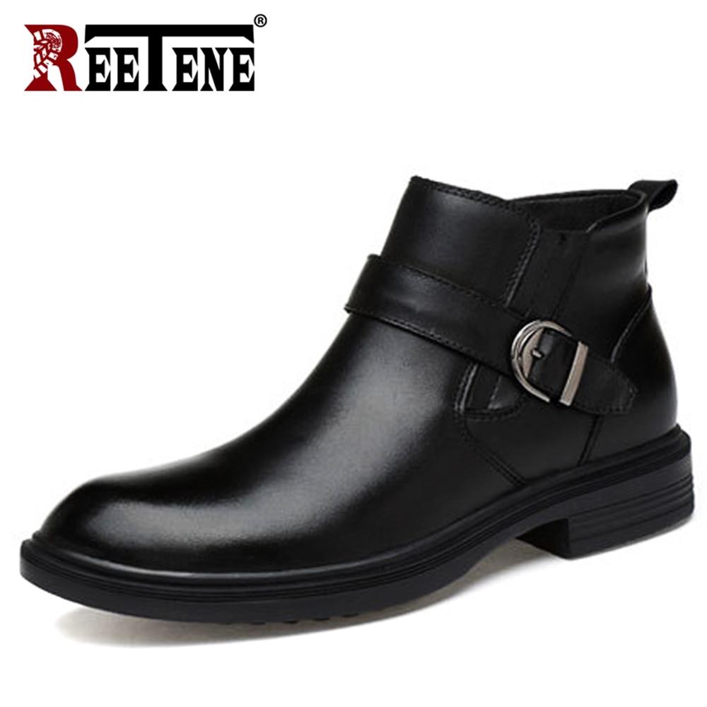 REETENE moda genuino cuero Natural hombres botas Otoño Invierno moda piel Slip On Men botas felpa invierno botas de nieve 37  46-in Botas básicas from zapatos    1