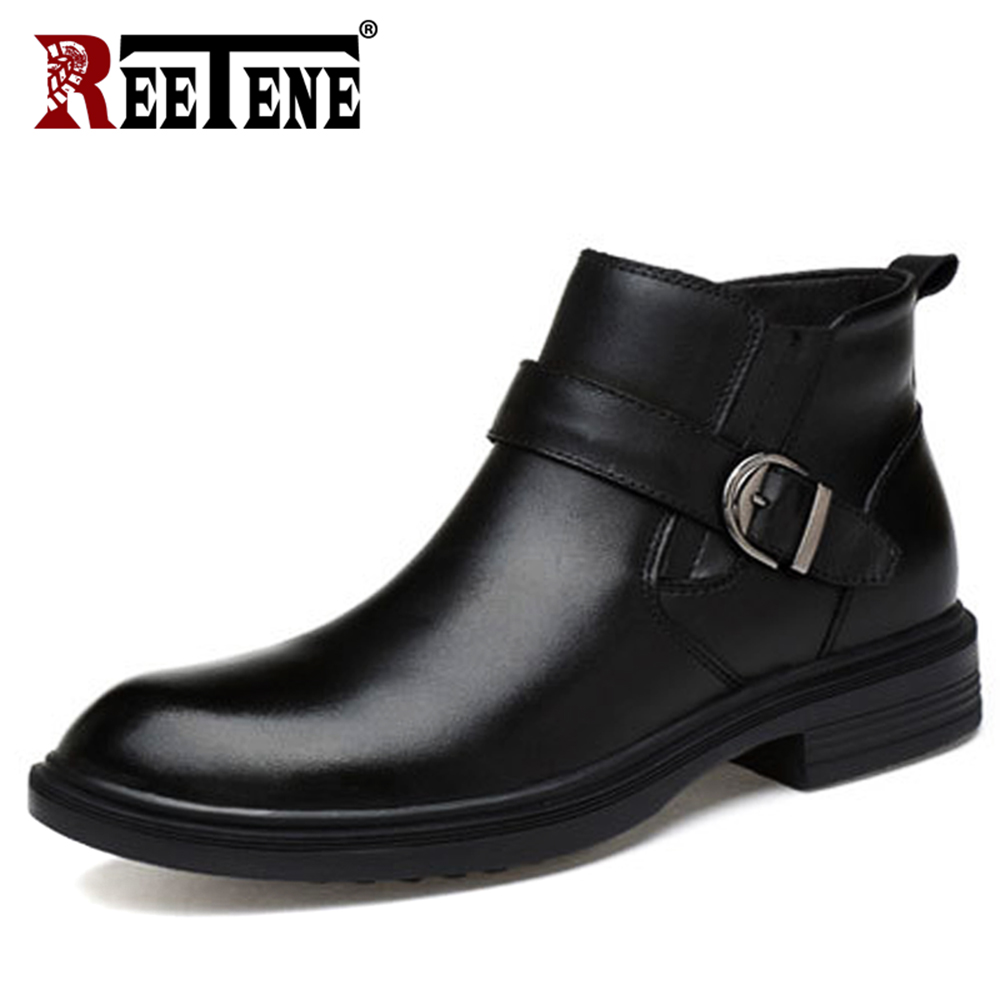 REETENE mody prawdziwe naturalne skórzane buty męskie jesień zima moda futro Slip On męskie buty pluszowe buty zimowe śnieg 37 46 w Podstawowe buty od Buty na  Grupa 1