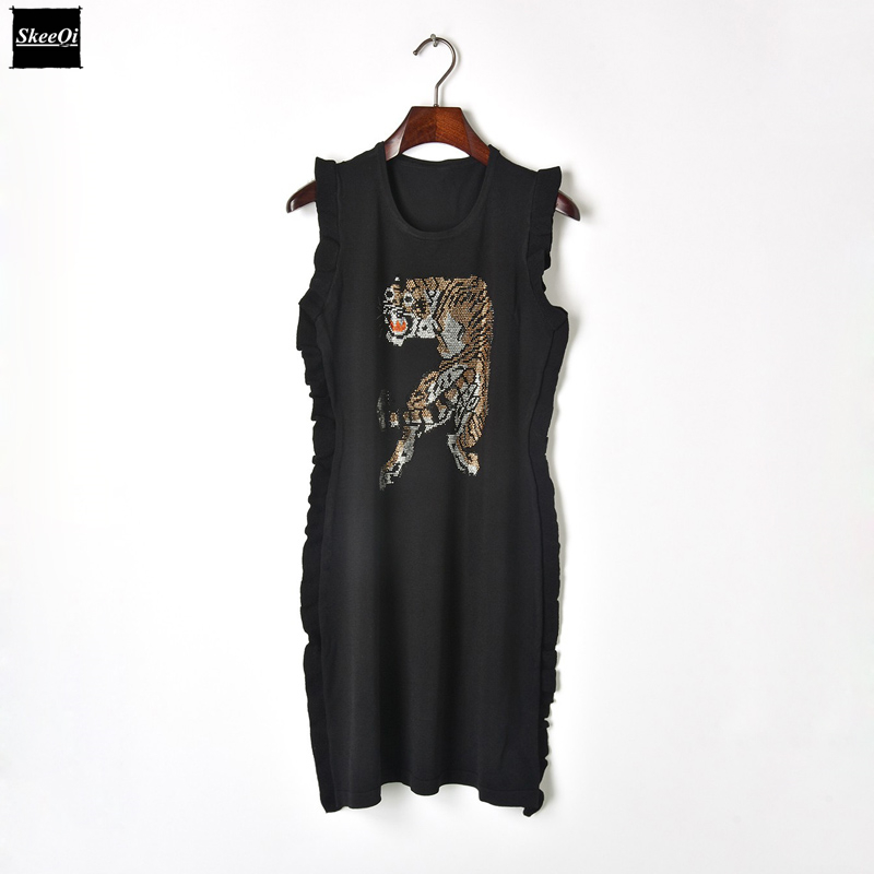 2018 New Black Runway Design Knit Sweater Dresses Women Knitted Casual Dress Ruffles Hot Drilling Tiger Summer Knitwear Vestidos