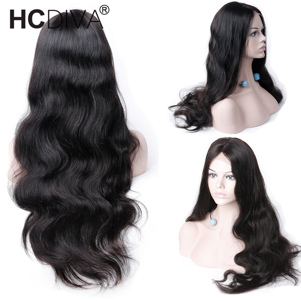 Middle Part Lace Frontal Wigs Peruvian Remy Human Hair Lace Frontal Wigs Black For Women 130% Density Body Wave Hair Wigs HCDIVA