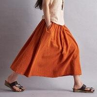 2015 Summer Style Solid Linen Women Long Skirt Brand Casual Loose Skirts For Women Mori Girl