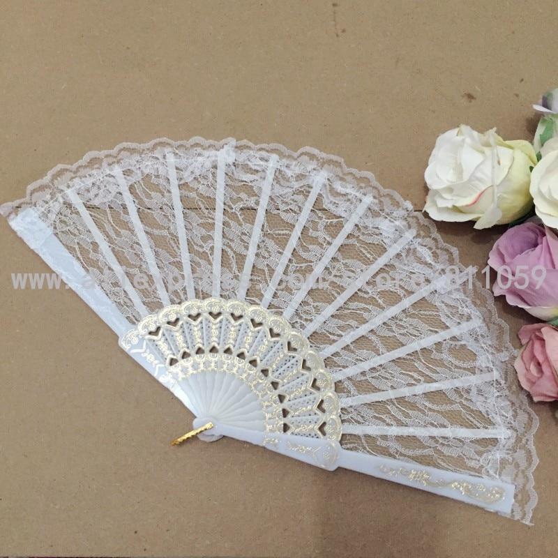 Hot-sell doprava zdarma 100ks / lot svatební krajky ventilátor bílá krajka ruční ventilátor svatební dárek laskavost
