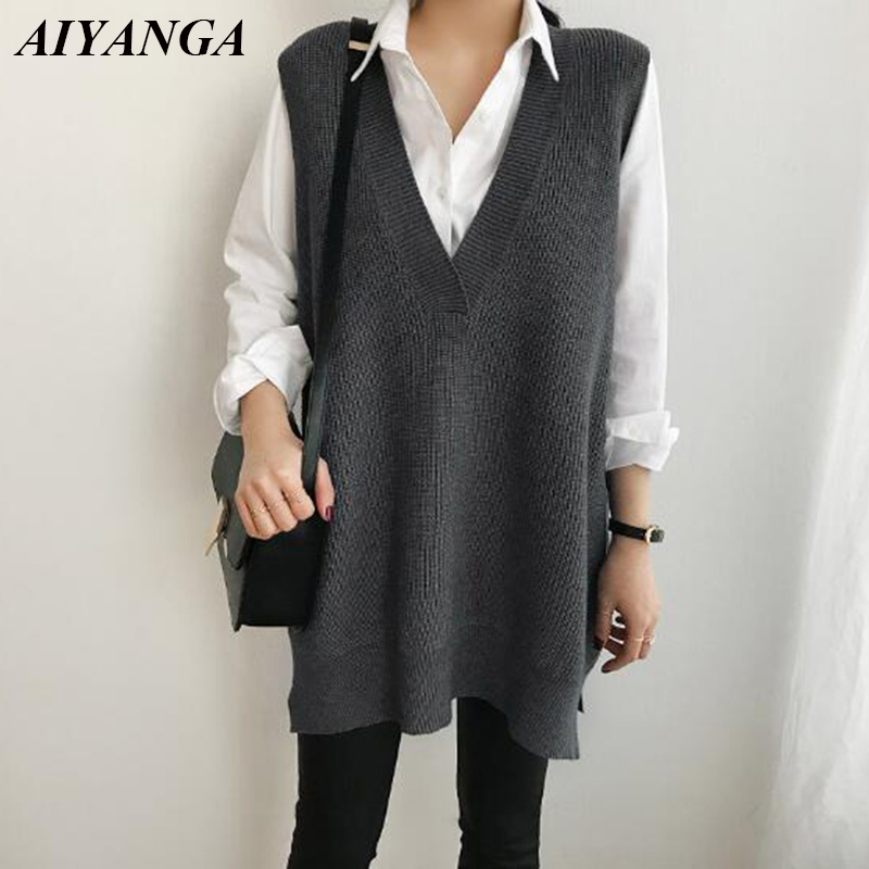 Loose Vest Sweaters For Women Sleeveless Knitted Tops Autumn Winter V Neck Pullovers Sweaters Casual Knitting Vest Female