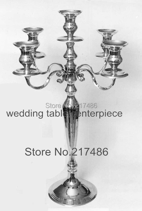 5 arms mental tall sliver mental wedding centerpieces ...