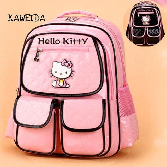 fcea2edd1e15 PU Leather School Bag for teenager girls Pink hello kitty Book Bags Fashion  Designer Children Bagpack Mochila Backpack Schoolbag