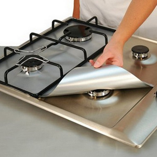 4 Pieces Reusable Foil Gas Hob Range Stove Top Burner Protector Liner Cover For Cleaning