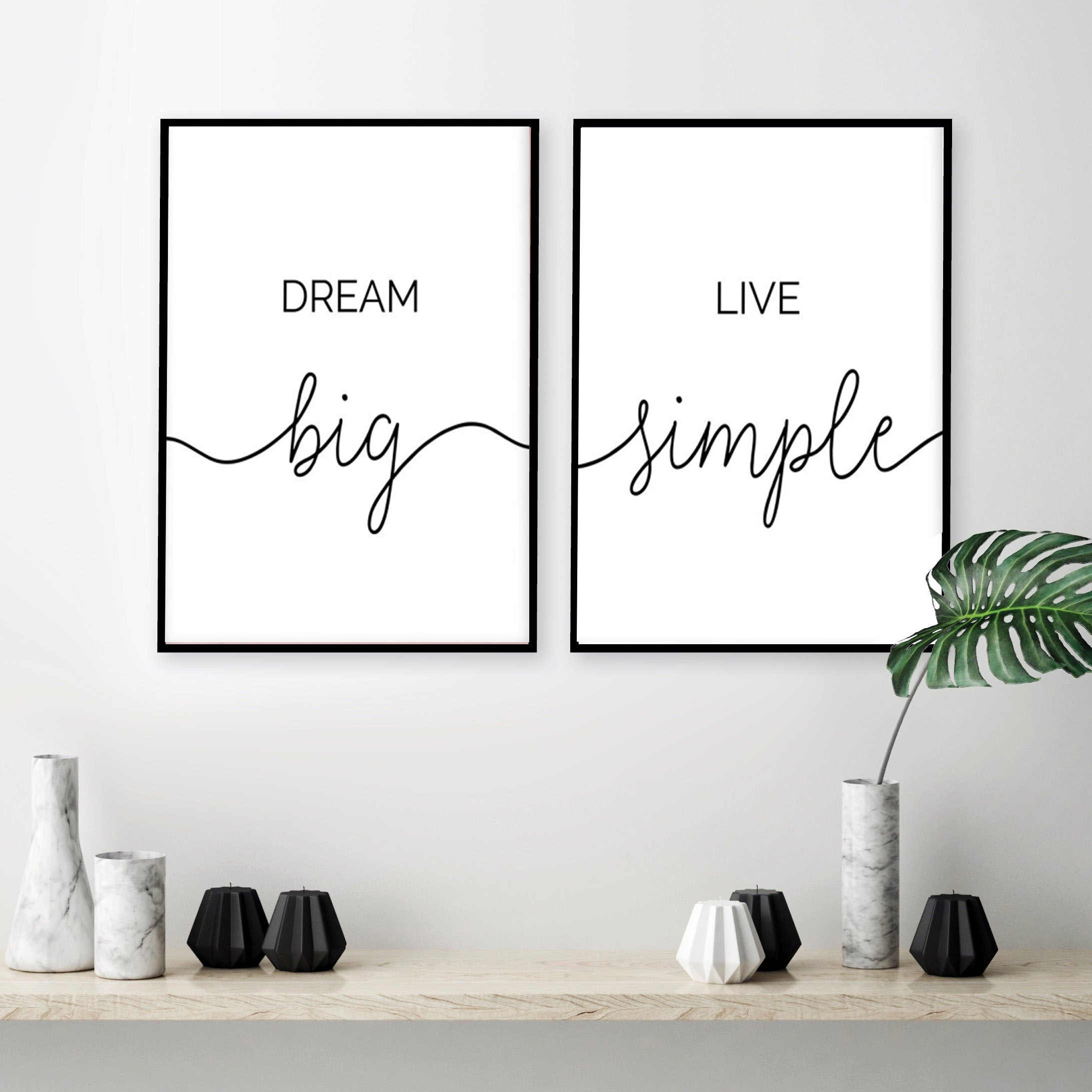 Minimalist Dream Big Live Simple Quote Canvas Paintings Black and White Bedroom Wall Art Prints Poster Pictures for Home Decor