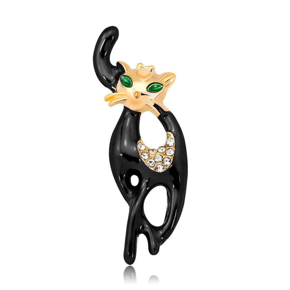 Hidup Kebanggaan Kucing Bros untuk Partai Shell Logam Crown Biru Kristal Enamel Pin Hitam Hewan Bros untuk Wanita Perhiasan Aksesoris