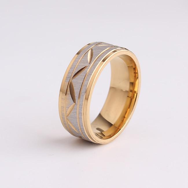 0677824b813b Envío libre Scrub hoja oro color 316L anillos de acero inoxidable para los  hombres al por mayor