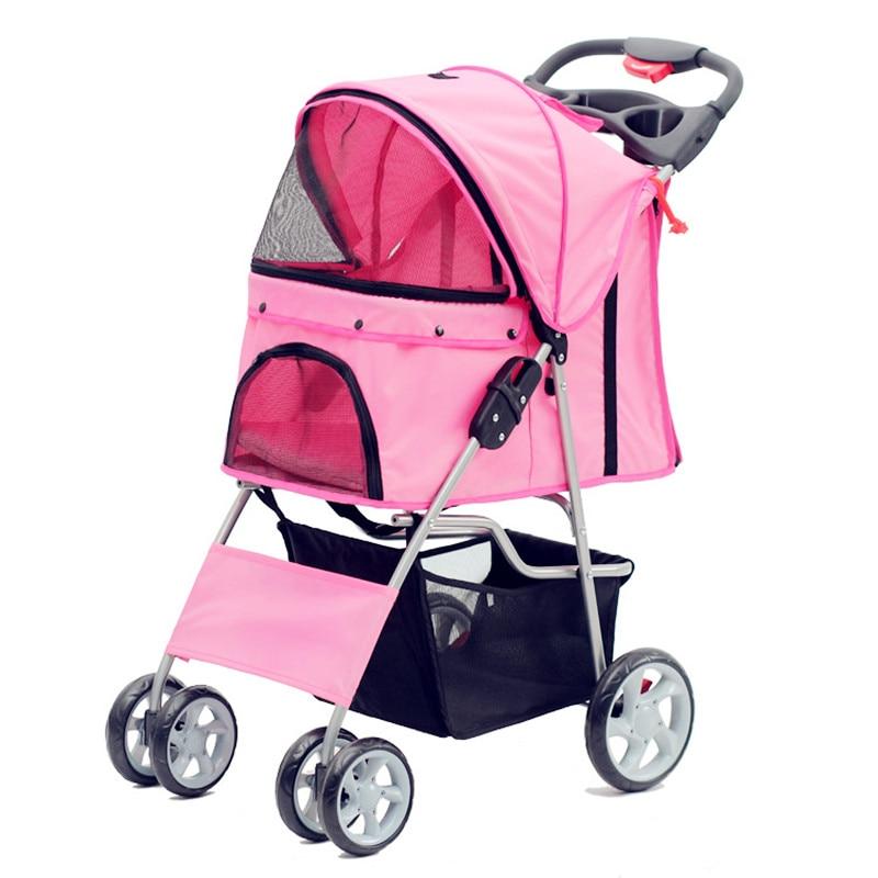 Transportin Perro poussettes pour chien confiance Deluxe pliable quatre roues pour animaux de compagnie poussette de voyage avant et arrière chien d'entrée