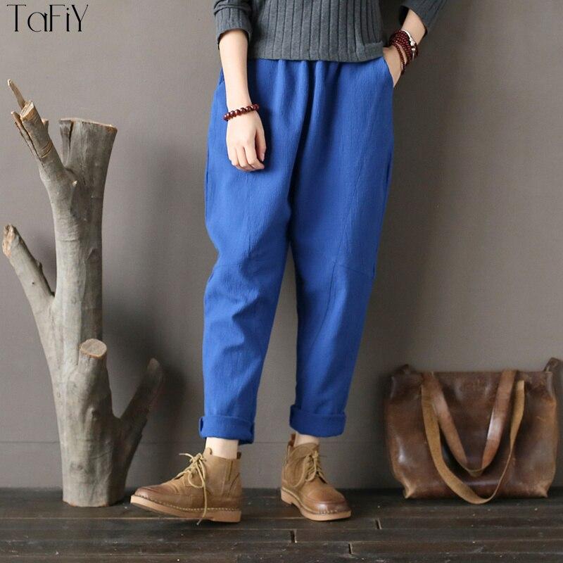 Large Harem Solide Jambe Taille De Tafiy Lâche Nouveau Tout Femmes Élastique Coffee Pantalon 2018 allumette Occasionnel Coton Vintage blue Printemps 88OwfqAT