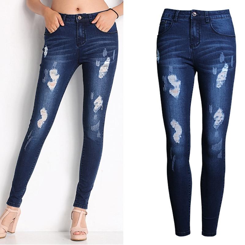 ᐂOlrain Mujer Denim Jeans Apenada Flaco Rasgado Agujero Denim Jean ...