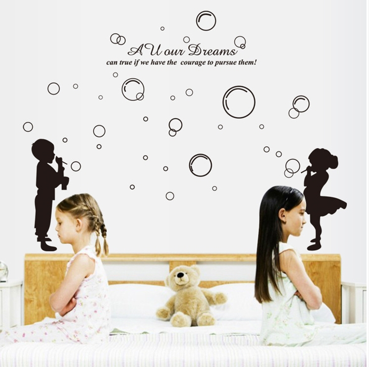 Black Play Bubbles Wall Stickers Kids Salon Bathroom Home Decor Removal Vinyl Stencil Decals Furniture Gl Window In From