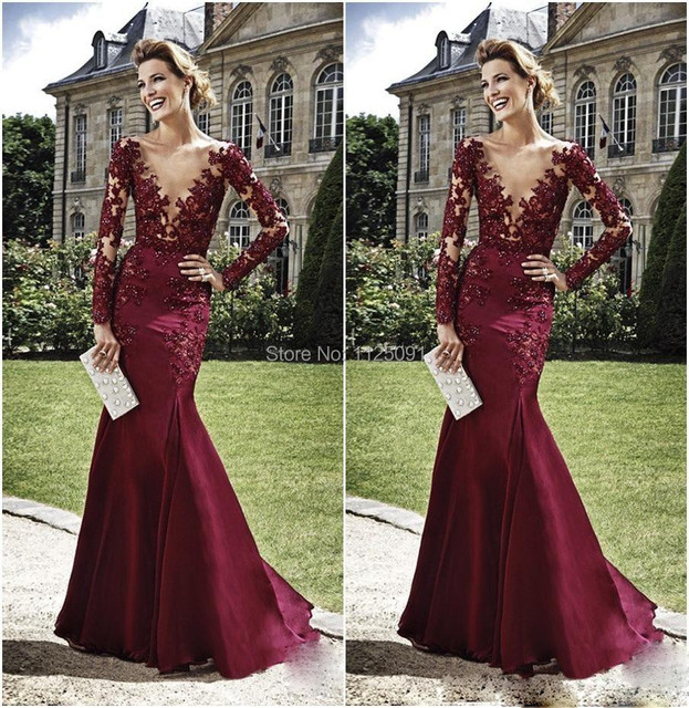 2017 Celebrity Gowns Zuhair Murad Burgundy Evening Dresses Lace Liqued Mermaid Sheer Long Sleeves Y V