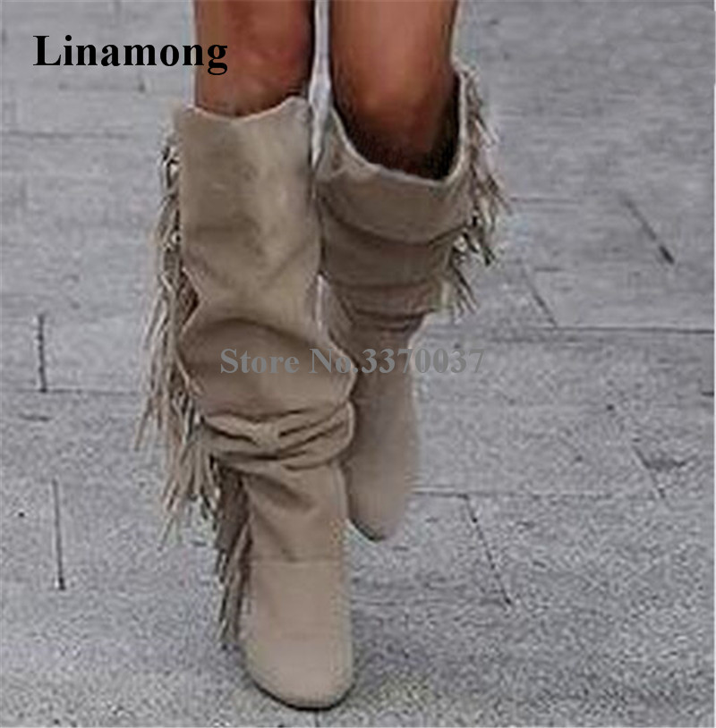 Winter New Fashion Women Round Toe Suede Leather Tassels Knee High Thin Heel Boots Charming Fringes Long High Heel Boots high quality women fashion round toe knee high tassels thick heel boots newest sexy long fringes high heel boots