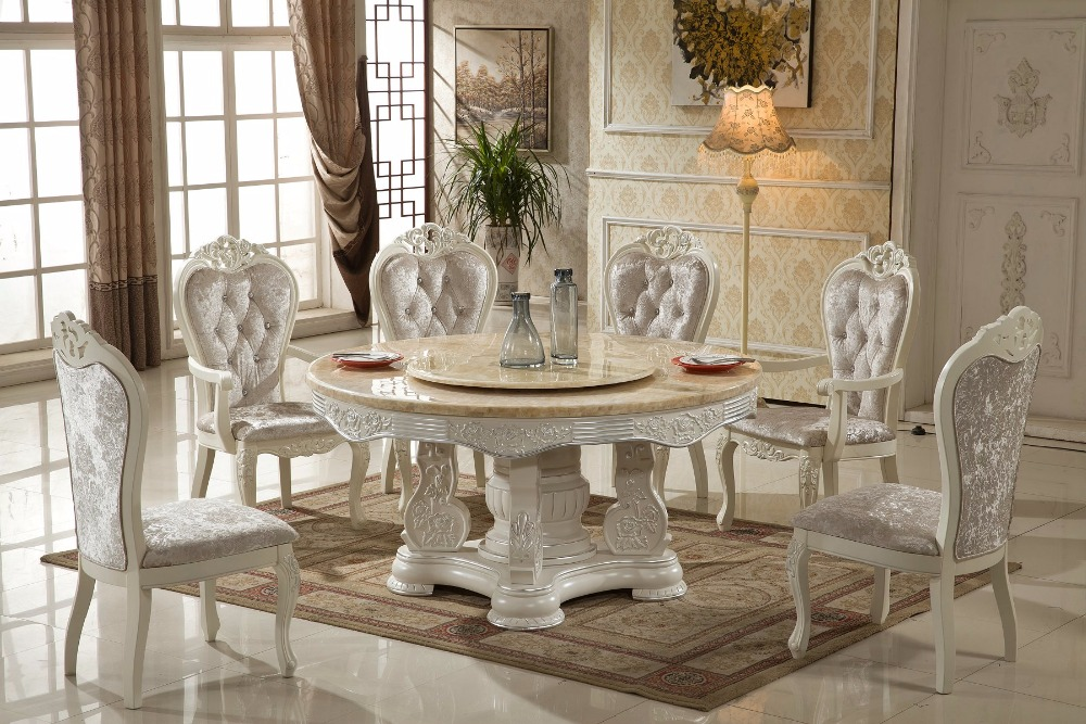 US $3750.0 |Comedor Meuble Free Shipping To Washinton Dc!! French Style  Marble Top Dinning Table With 6pcs Chairs And Tv Stand Leather Sofa-in  Dining ...