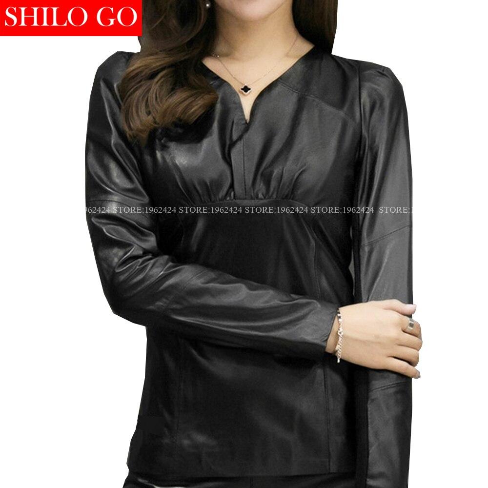 SHILO GO Fashion Street Women V Neck long sleeved black sexy Formal office Sheepskin Genuine Leather Short Blouse Ladies Shirt