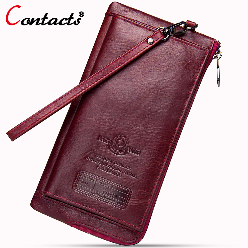 все цены на Contact's Brand Genuine Leather Women Wallet Long Clutch Money Bag With Wrist Coin Purse Phone Wallet For Credit Cards Pocket онлайн