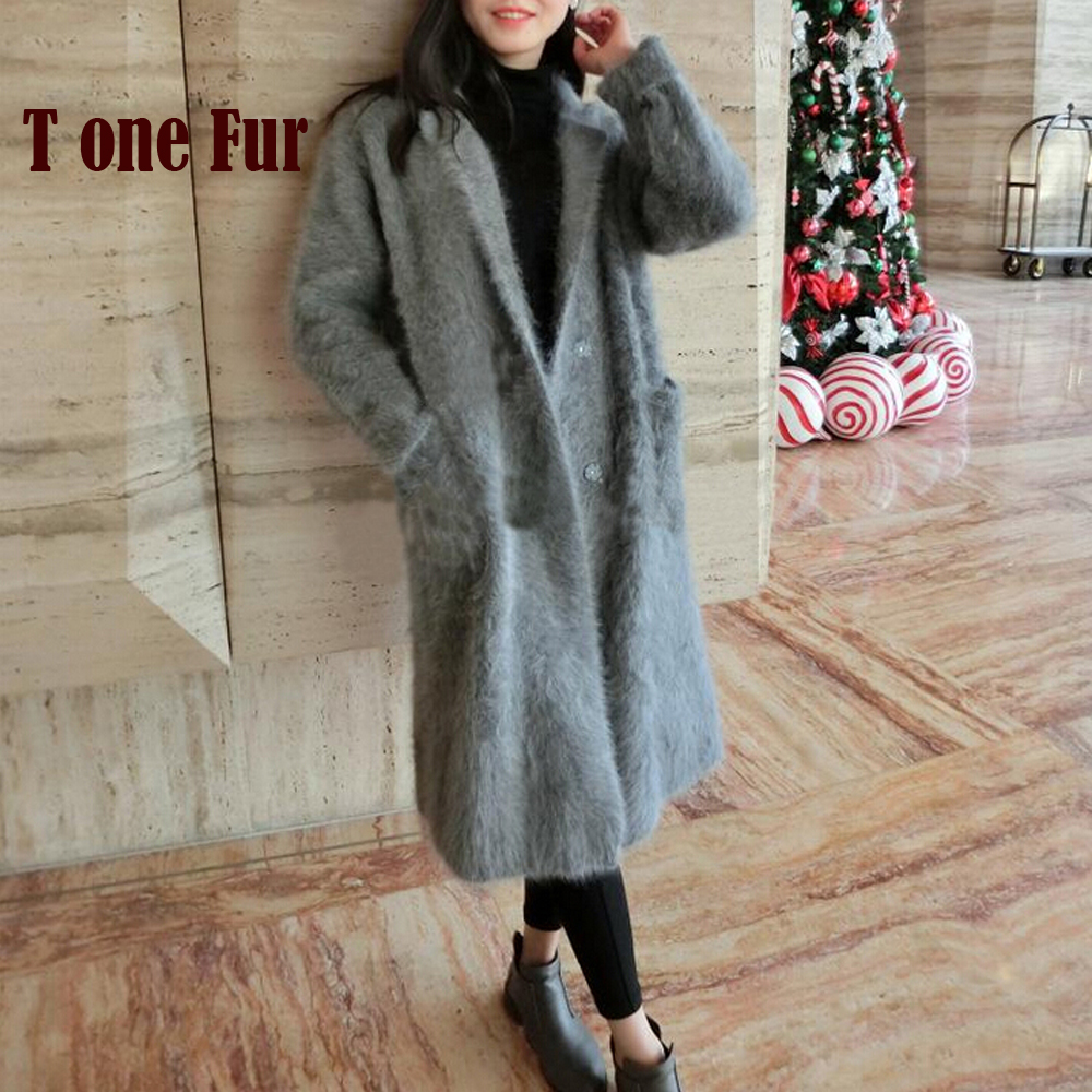 Real Mink Cashmere Long Coat Genuine Mink Cashmere Sweater Warm Custom Big Size Pure True Mink