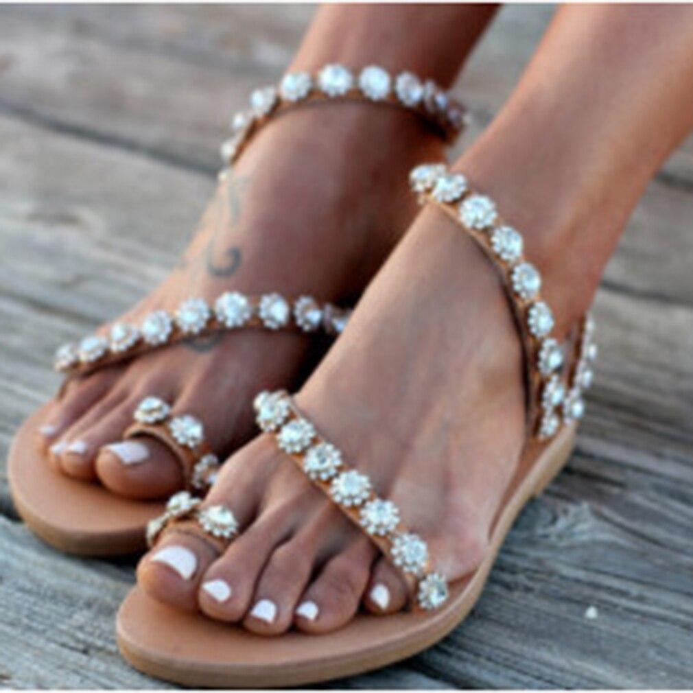 HTB10sChbELrK1Rjy1zbq6AenFXaR Women Sandals Gladiator 2019 Summer Casual Shoes Bohemia mujer Wedding Shoes Crystal feminina Ladies Flip Flops Beach Sandals
