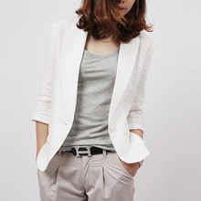 new cotton and linen small suit female Blazers Korean casual