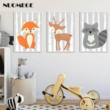 Woodland Forest Animal Fox Wall Art Canvas Poster Print Painting Nursery Decorative Picture Modern Home for Kids Room Decor