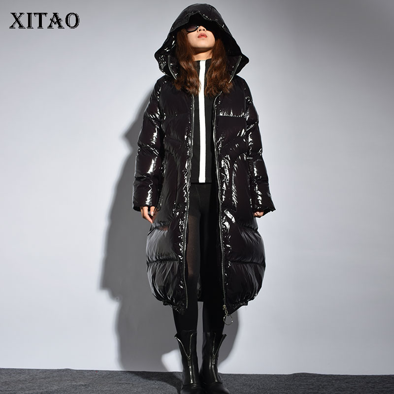 [XITAO] Thick Women Winter 2018 Korea Fashion New Full Sleeve Loose Coat Female Solid Color PU Pocket Casual   Parka   LJT4787