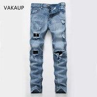 2019 New Jeans Elastic Torn Skinny Jeans Men Fashion Popular Hole Ripped Jeans For Men High Quality Denim Streetwear Men