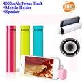 Portable Power Bank Speaker Mobile Holder 3 in 1 Stereo Mini Speaker MP3 Player Amplifier Loudspeaker For Mobile Tablet
