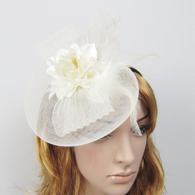 Retro British style women wedding hats and fascinators beaded feather  fascinator hat with hairband hair bow rose flower headband 1710018d17b