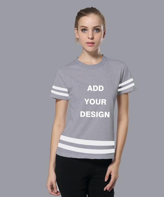 Add Your Design New Arrival Women T-shirt Personalized Custom Striped Shirt  Female Summer Shorts Sleeve Tee Shirts Plus Size