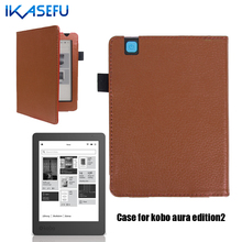 Ikasefu filp couverture case pour kobo aura édition 2 6 pouce coque veille capa pu en cuir e-book ereader pour kobo aura edition2