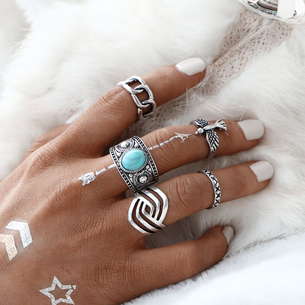IF YOU 5 PCS/SET Vintage Eagle Ring Sets Silver Color Tibetan Cyan Artificial Stone Midi Ring for Women Antique Stone Men Rings