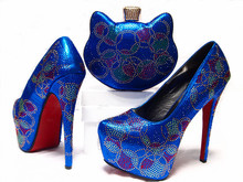 (JA10-1)Italian shoe with matching bag set,African women shoe and bag to match set for party high qulaity shoes set For Blue