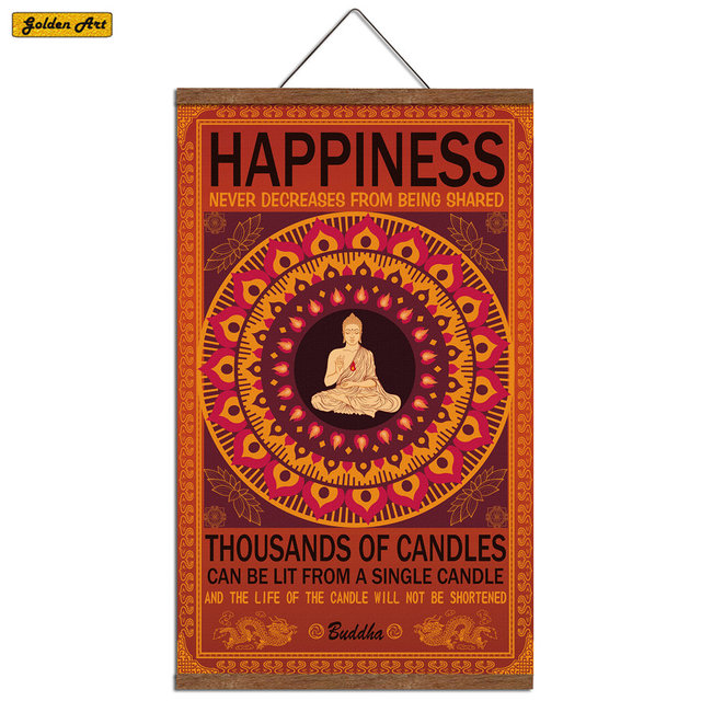 Buddha Poster HAPPINESS Canvas Scroll Wood Frame Painting Wall Sticker Living Room Bedroom prayer Inspirational decor 40x60cm