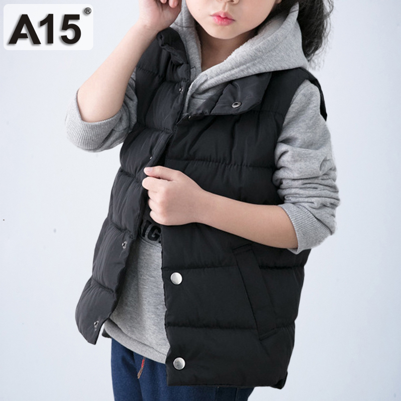 A15 Kids Vest Children Baby Girl Vest Jacket 2018 Winter Spring Waistcoats for Toddler Boy Outerwear Coats Teen 4 6 8 10 12 Year