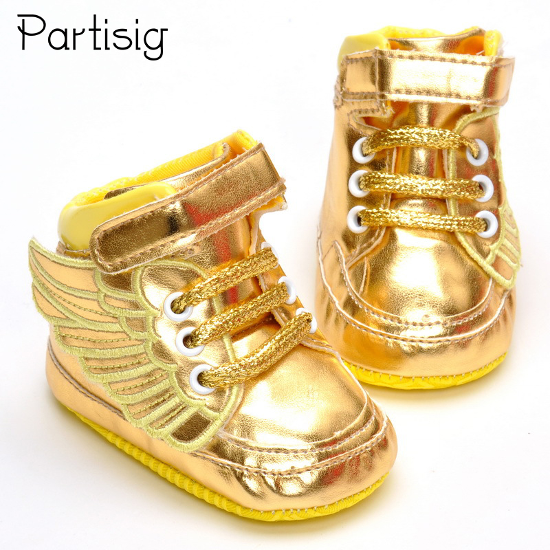PU Leather Baby Shoes Soft Sole Golden Wings Crib Shoes Spring Autumn Cartoon First Walkers Baby Boy Girl Sneakers